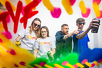 No repro fee<br /> 13-6-2018<br /> Get Creative: <br /> Picture shows from left Lisa Carroll (Clay Youth Project Worker); Rebecca Clifford (16, Crumlin); street artist Maser; and  Lee Prendiville (16, Crumlin) as street artist Maser teams up with young people from Clay Youth Project in Crumlin as part of the 2018 Coca-Cola Thank You Fund. Maser and the young people will create a mural over a series of workshops, demonstrating the importance of youth initiatives. The Coca-Cola Thank You Fund provides &euro;100,000 in funding for youth-oriented projects. Apply today at www.coca-cola.ie/thankyou<br /> Pic:Naoise Culhane-no fee