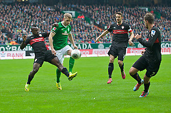15.03.2014, Weserstadion, Bremen, GER, 1. FBL, SV Werder Bremen vs VfB Stuttgart, 25. Runde, im Bild Arthur Boka (VfB Stuttgart #15) verteidigt gegen Aaron Hunt (Bremen #14) // Arthur Boka (VfB Stuttgart #15) verteidigt gegen Aaron Hunt (Bremen #14) during the German Bundesliga 25th round match between SV Werder Bremen and VfB Stuttgart at the Weserstadion in Bremen, Germany on 2014/03/16. EXPA Pictures © 2014, PhotoCredit: EXPA/ Andreas Gumz<br /> <br /> *****ATTENTION - OUT of GER*****