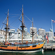 A full-size replica of Captain James Cook's HMS Endeavour ship on display at the Australian National Maritime Museum at Darling Harbour in Sydney