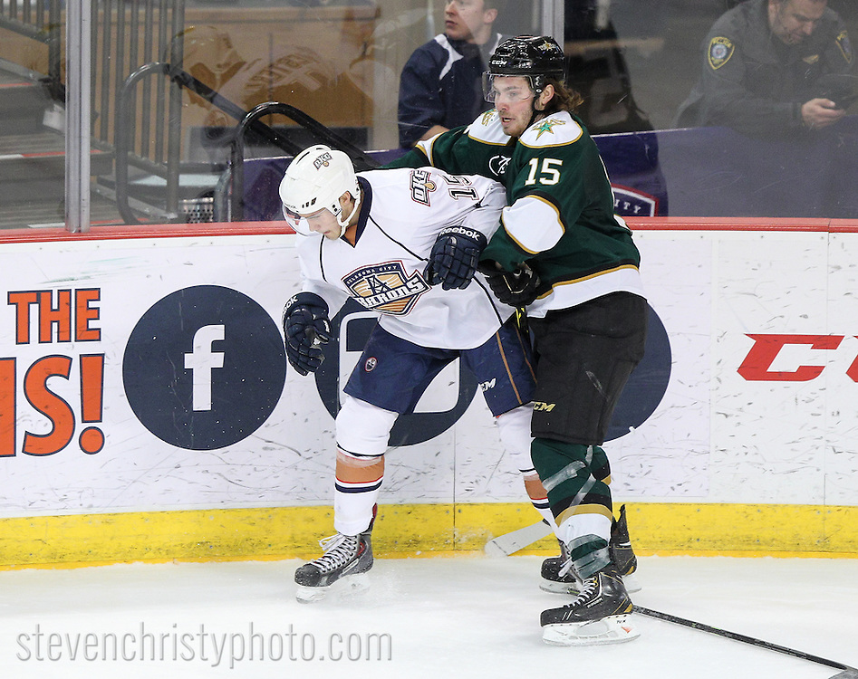 January 6, 2015: The Oklahoma City Barons play the Texas Stars in an American Hockey League game at the Cox Convention Center in Oklahoma City.