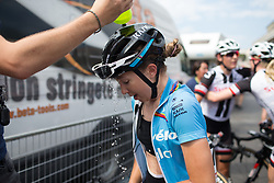 Cecilie Uttrup Ludwig (DEN) of Cervélo-Bigla Cycling Team tries to cool down after a hot and humid Stage 8 of the Giro Rosa - a 141.8 km road race, between Baronissi and Centola fraz. Palinuro on July 7, 2017, in Salerno, Italy. (Photo by Balint Hamvas/Velofocus.com)