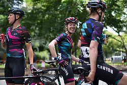 Hanna Barnes (GBR) of CANYON//SRAM Racing smiles after finishing the fourth, 70 km road race stage of the Amgen Tour of California - a stage race in California, United States on May 22, 2016 in Sacramento, CA.