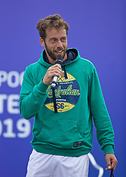 LIVERPOOL, ENGLAND - Sunday, June 23, 2019: Paulo Lorenzi (ITA) gives a speech after wining the Men's Final on Day Four of the Liverpool International Tennis Tournament 2019 at the Liverpool Cricket Club. (Pic by David Rawcliffe/Propaganda)