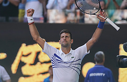 MELBOURNE, Jan. 19, 2019  Novak Djokovic of Serbia celebrates after the men's singles third round match against Denis Shapovalov of Canada at 2019 Australian Open in Melbourne, Australia, Jan. 19, 2019. (Credit Image: © Bai Xuefei/Xinhua via ZUMA Wire)