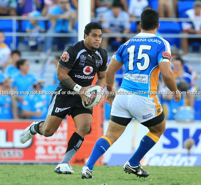 Epalahame Lauaki in action during round 7 of the NRL - Gold Coast Titans v New Zealand Warriors. Played at Skilled Stadium, Robina QLD. Titans (36) defeated the Warriors (24).  Photo: Warren Keir (Photosport NZ).<br /> <br /> Use information: This image is intended for Editorial use only (e.g. news or commentary, print or electronic). Any commercial or promotional use requires additional clearance.