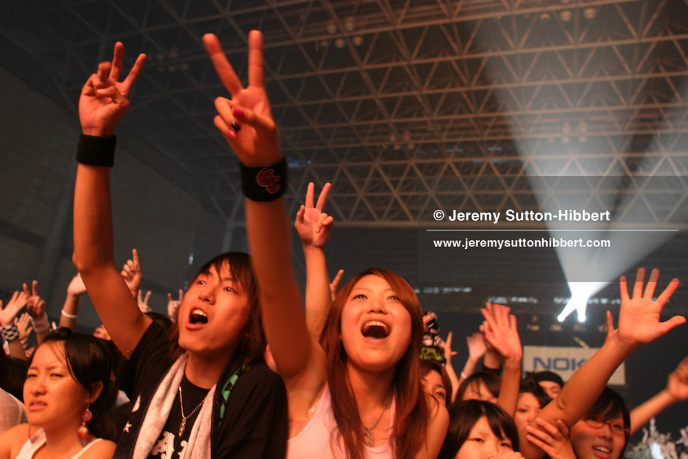 LIVE8 TOKYO. Japanese fans at the Live8 Tokyo concert, held at Makuhari Messe, Tokyo. Saturday 2nd July 2005.