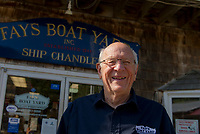 Merrill Fay outside of the Ship Chandlery at Fay's Boat Yard on Lake Winnipesaukee in Gilford NH.   © Karen Bobotas Photographer