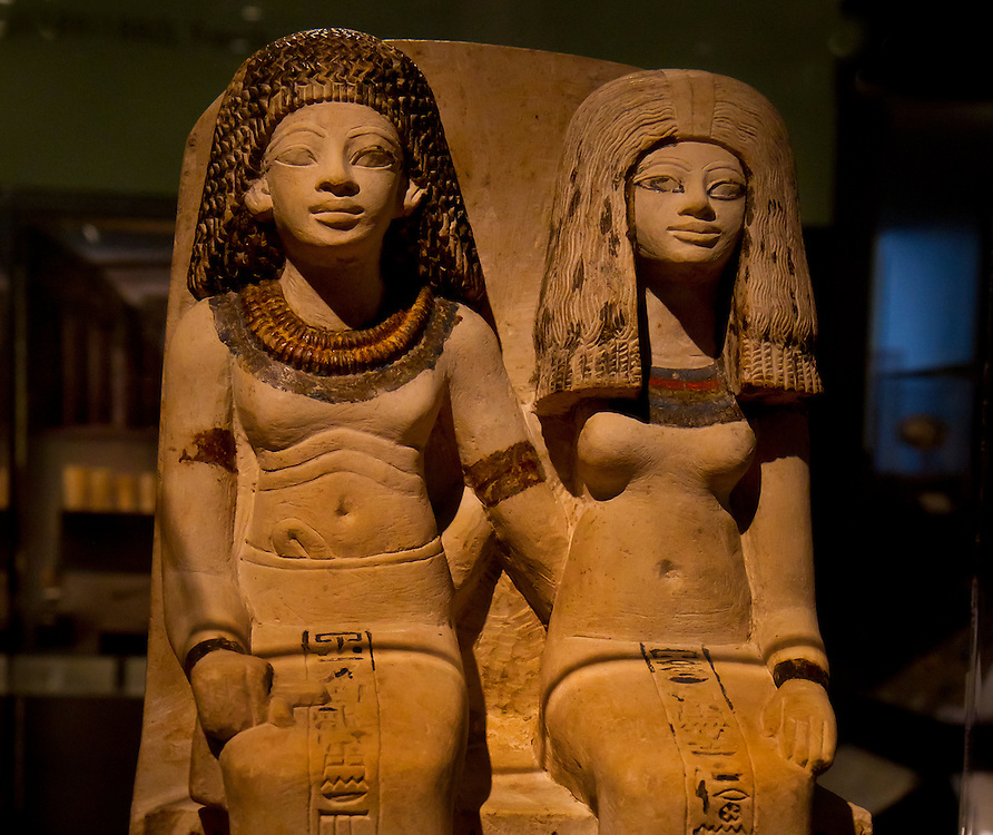 Statue of two important women from ancient Egypt named Nebsen and Nebeta. Brooklyn Museum.
