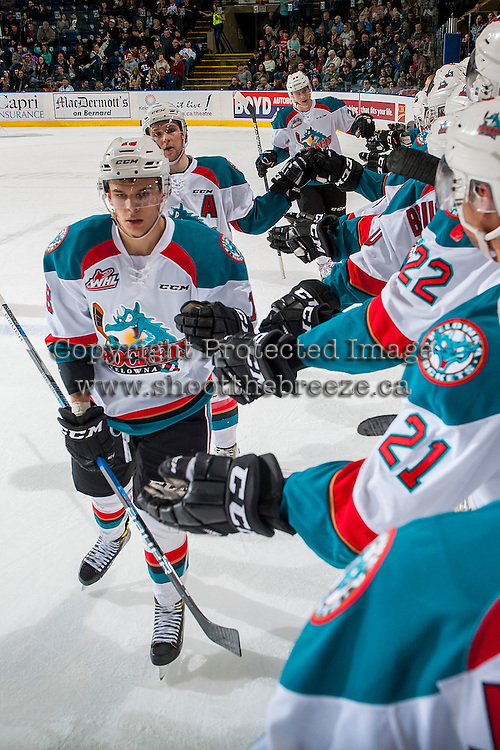 KELOWNA, CANADA - MARCH 4: Carsen Twarynski #18 of the Kelowna Rockets celebrates a goal against the Tri-City Americans on March 4, 2017 at Prospera Place in Kelowna, British Columbia, Canada.  (Photo by Marissa Baecker/Shoot the Breeze)  *** Local Caption ***