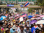 22 DECEMBER 2013 - BANGKOK, THAILAND: Anti-government protestors in the Ratchaprasong intersection of Bangkok. Hundreds of thousands of Thais gathered in Bangkok Sunday in a series of protests against the caretaker government of Yingluck Shinawatra. The protests are a continuation of protests that started in early November and have caused the dissolution of the Pheu Thai led government of Yingluck Shinawatra. Protestors congregated at home of Yingluck and launched a series of motorcades that effectively gridlocked the city. Yingluck was not home when protestors picketed her home.     PHOTO BY JACK KURTZ