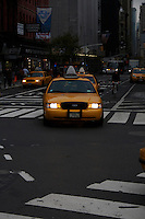 Taxi cab on midtown Manhattan street New York