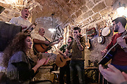 PUGLIA , ITALY, Matino,  A Locanda tu Marchese, folk musicians in the restaurant, tavern of the Locanda