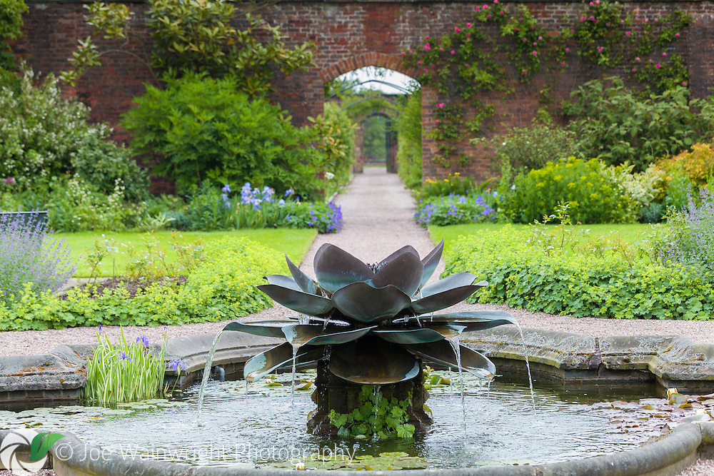 The fountain in the Walled Garden, at Arley Hall, Cheshire, was commissioned by the Friends of Arley Hall in memory of Lord Ashbrook's late mother.  It was created by Tom Leaper and opened in 2006.