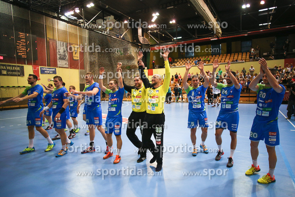Players of Slovenia celebrate during handball match between National Teams of Slovenia and Latvia in Qualification of 2016 Men's European Championship, on June 13th, in Rdeca Dvorana, Velenje. Photo by Morgan Kristan / Sportida