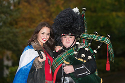 Miss Scotland Jennifer Reochs with piper Danny Sweeney at Crieff Hydro..MISS WORLD 2011 VISITS SCOTLAND..Pic © Michael Schofield.