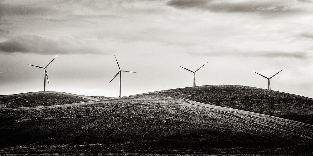 A group wind turbines.