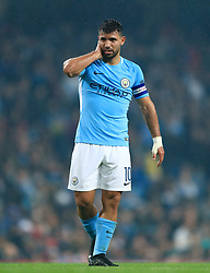 "Manchester City's Sergio Aguero during the Carabao Cup, Fourth Round match at the Etihad Stadium, Manchester. PRESS ASSOCIATION Photo. Picture date: Tuesday October 24, 2017. See PA story SOCCER Man City. Photo credit should read: Tim Goode/PA Wire. RESTRICTIONS: EDITORIAL USE ONLY No use with unauthorised audio, video, data, fixture lists, club/league logos or ""live"" services. Online in-match use limited to 75 images, no video emulation. No use in betting, games or single club/league/player publications."