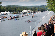 Henley on Thames, England, United Kingdom, Sunday, 07.07.19, Latymer Upper School A (top) and Headington School, (bottom) passing the Enclosures, Henley Royal Regatta,  Henley Reach, [©Karon PHILLIPS/Intersport Images]<br /> <br /> 16:37:59 1919 - 2019, Royal Henley Peace Regatta Centenary,