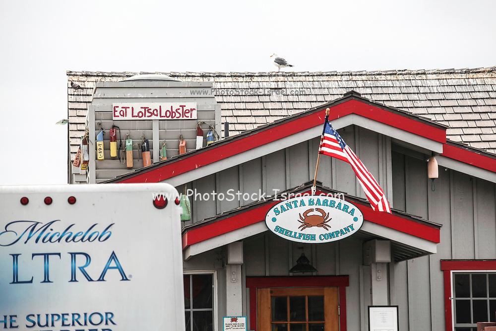 The Santa Barbara Shellfish Company fish store and restaurant on Stern's Wharf in Santa Barbara, CA, USA