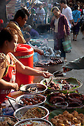 Luang Prabang, Laos. Prepared food in the morning food market.