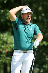 September 2, 2018 - Norton, Massachusetts, United States - Tyrrell Hatton reacts after an errant shot off the 4th tee during the third round of the Dell Technologies Championship. (Credit Image: © Debby Wong/ZUMA Wire)