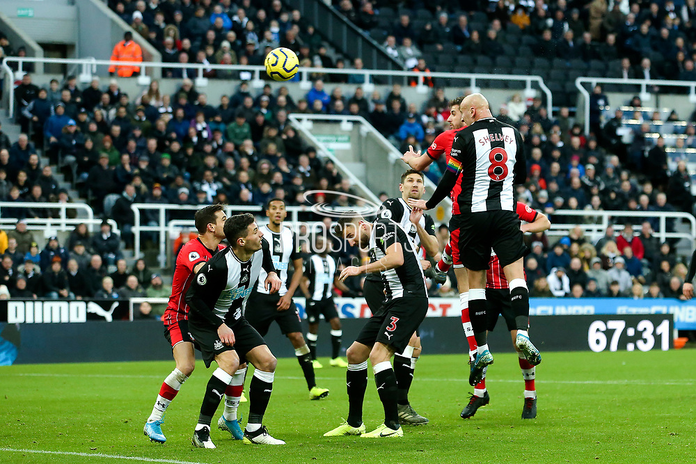 Jonjo Shelvey (#8) of Newcastle United scores Newcastle United's first goal (1-1) during the Premier League match between Newcastle United and Southampton at St. James's Park, Newcastle, England on 8 December 2019.