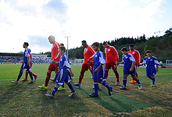 England players walk out  - Mandatory byline: Joe Meredith/JMP - 07966386802 - 05/09/2015 - FOOTBALL- INTERNATIONAL - San Marino Stadium - Serravalle - San Marino v England - UEFA EURO Qualifers Group Stage