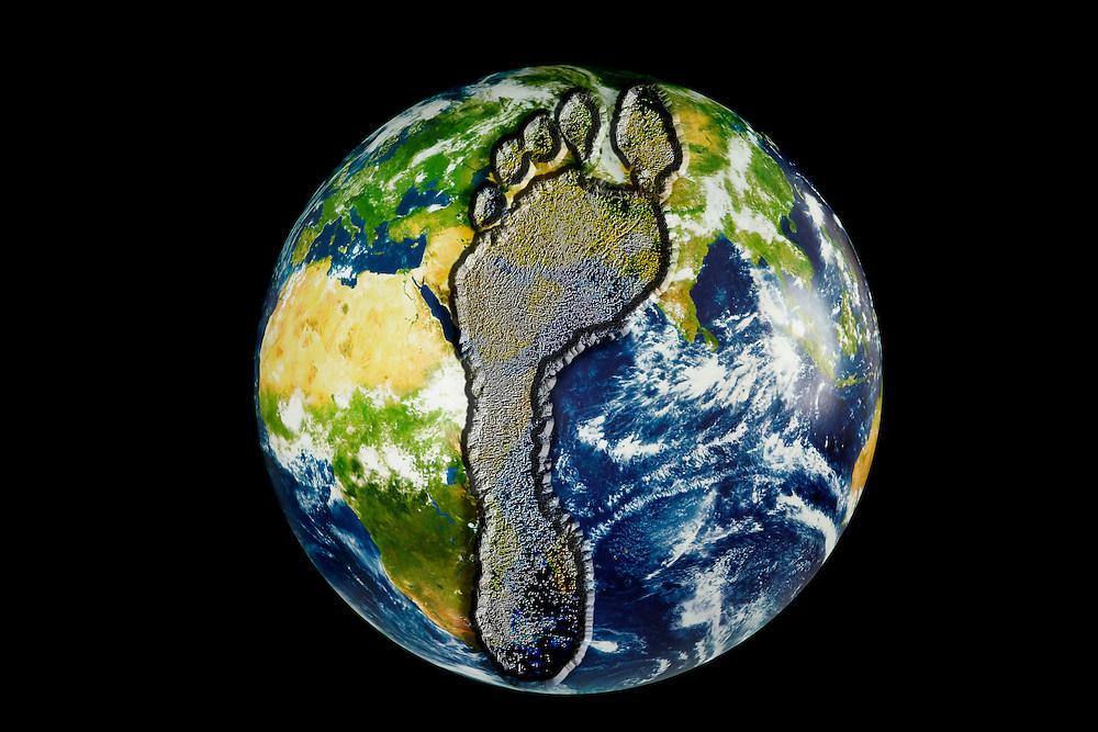 Digital illustration of a human footprint leaving an imprint on the Earth.