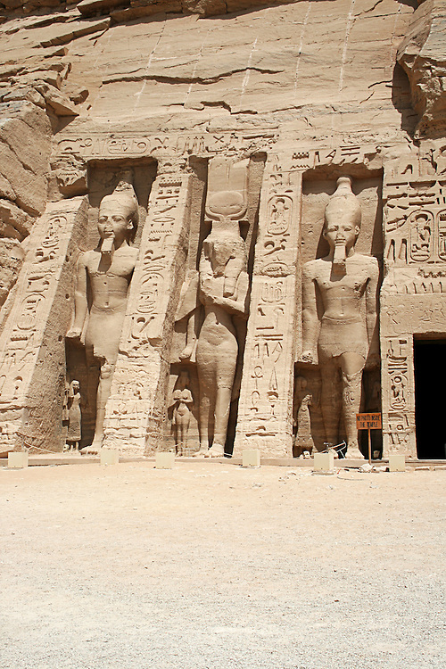 "The Abu Simbel temples are two massive rock temples in Abu Simbel  in Nubia, southern Egypt. They are situated on the western bank of Lake Nasser, about 230 km southwest of Aswan. The complex is part of the UNESCO World Heritage Site known as the ""Nubian Monuments"" which run from Abu Simbel downriver to Philae (near Aswan)."