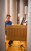 Nathan Sumrall plays the organ at St. Joseph Abbey in St. Benedict, Louisiana on July 30, 2017; photo ©2017, George H. Long
