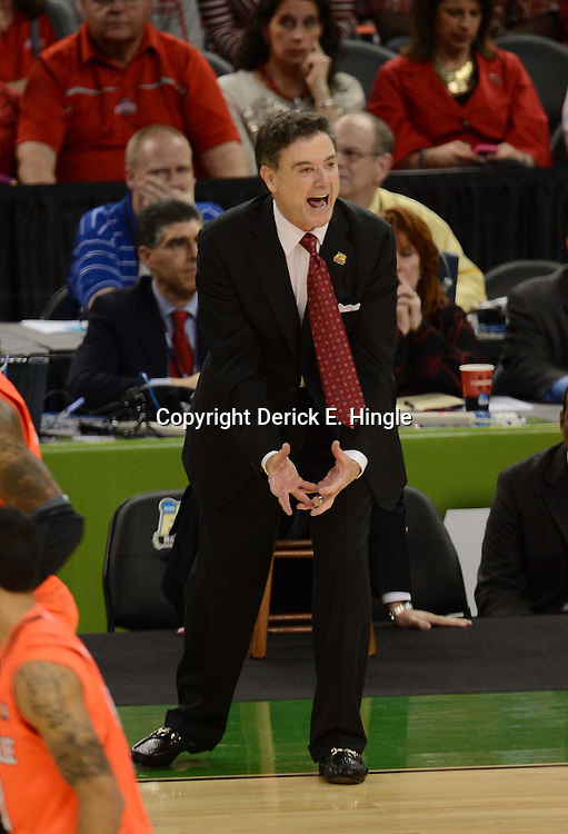Mar 31, 2012; New Orleans, LA, USA; Louisville Cardinals head coach Rick Pitino reacts during the first half against the Kentucky Wildcats in the semifinals of the 2012 NCAA men's basketball Final Four at the Mercedes-Benz Superdome. Mandatory Credit: Derek E. Hingle-US PRESSWIRE