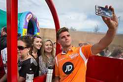 © Licensed to London News Pictures . 02/08/2015 . Droylsden Football Club , Manchester , UK . GAZ BEADLE poses for photos with fans . Celebrity football match in aid of Once Upon a Smile and Debra , featuring teams of soap stars . Photo credit : Joel Goodman/LNP