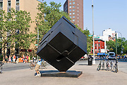 New York City, Cooper Square,  fifteen-foot-tall, 2,500-pound Cor-Ten steel sculpture, the Alamo, was installed in 1967 by  sculptor, Bernard (Tony) Rosenthal.