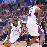 16 November 2013: Los Angeles Clippers point guard Darren Collison (2) drives on a screen set by Los Angeles Clippers center DeAndre Jordan (6) during the Los Angeles Clippers 110-103 victory over the Brooklyn Nets at the Staples Center, Los Angeles, California, USA.