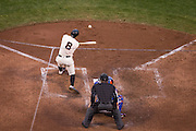 San Francisco Giants right fielder Hunter Pence (8) swings at a pitch in the ninth inning against the New York Mets at AT&T Park in San Francisco, Calif., on August 21, 2016. (Stan Olszewski/Special to S.F. Examiner)