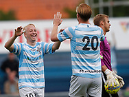 FODBOLD: Goalscorer Mads Aaquist (FC Helsingør) celebrates with Thomas Dalgaard after scoring the first goal during the pre-season match between FC Helsingør and Bridges FC at Helsingør Stadion on July 8, 2017 in Helsingør, Denmark. Photo by: Claus Birch / ClausBirch.dk