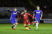 Gwion Edwards of Crawley Town shoots and scores 1--0 during the Sky Bet League 2 match between Crawley Town and Stevenage at the Checkatrade.com Stadium, Crawley, England on 26 December 2015. Photo by Phil Duncan.