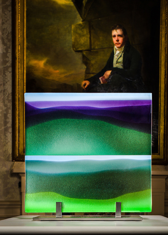 A glass panel by Annica Sandstrom, of Lindean Glass , Selkirk. The panel was commisoned  as part of the Sir Walter Scott Prize, 'Best Historical Fiction' 2015 . The prize's sponsors are the Duke and Duchess of Buccleuch, patrons of the arts and distant kinsmen of Scott