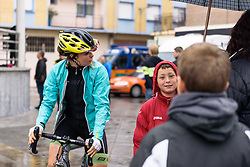 Sheyla Gutierrez chats to local supporters who've come out despite the terrible conditions - Emakumeen Bira 2016 Stage 3 - A 105 km road stage starting and finishing in Berriatua, Spain on 16th April 2016.