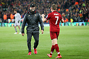 Liverpool Manager Jurgen Klopp and Liverpool midfielder James Milner (7) celebrate the 4-0 win during the Champions League semi-final, leg 2 of 2 match between Liverpool and Barcelona at Anfield, Liverpool, England on 7 May 2019.