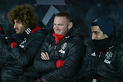 Wayne Rooney Forward of Manchester United sharing a joke with Henrikh Mkhitaryan Midfielder of Manchester United during the EFL Cup semi final match 2 between Hull City and Manchester United at the KCOM Stadium, Kingston upon Hull, England on 26 January 2017. Photo by Phil Duncan.