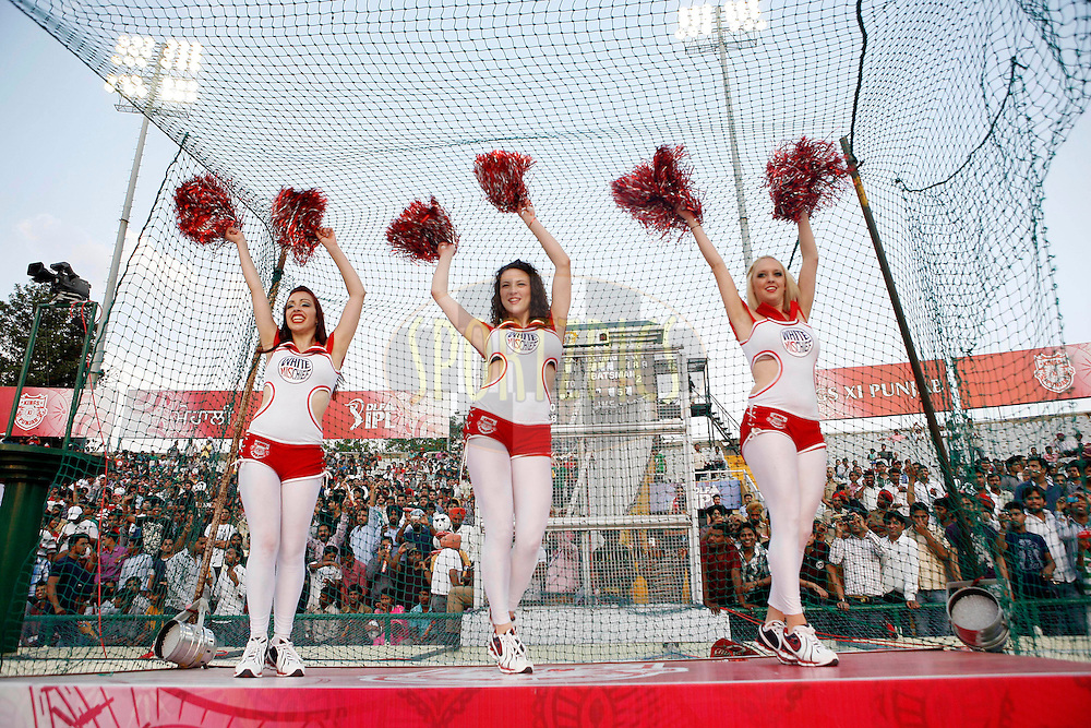 Cheer girls dance during match 9 of the Indian Premier League ( IPL ) Season 4 between the Kings XI Punjab and the Chennai Super Kings held at the PCA stadium in Mohali, Chandigarh, India on the 13th April 2011..Photo by Money Sharma/BCCI/SPORTZPICS