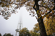 The Space Needle disappears into a thick morning fog in Seattle as seen from Broad St. (Lindsey Wasson / The Seattle Times)