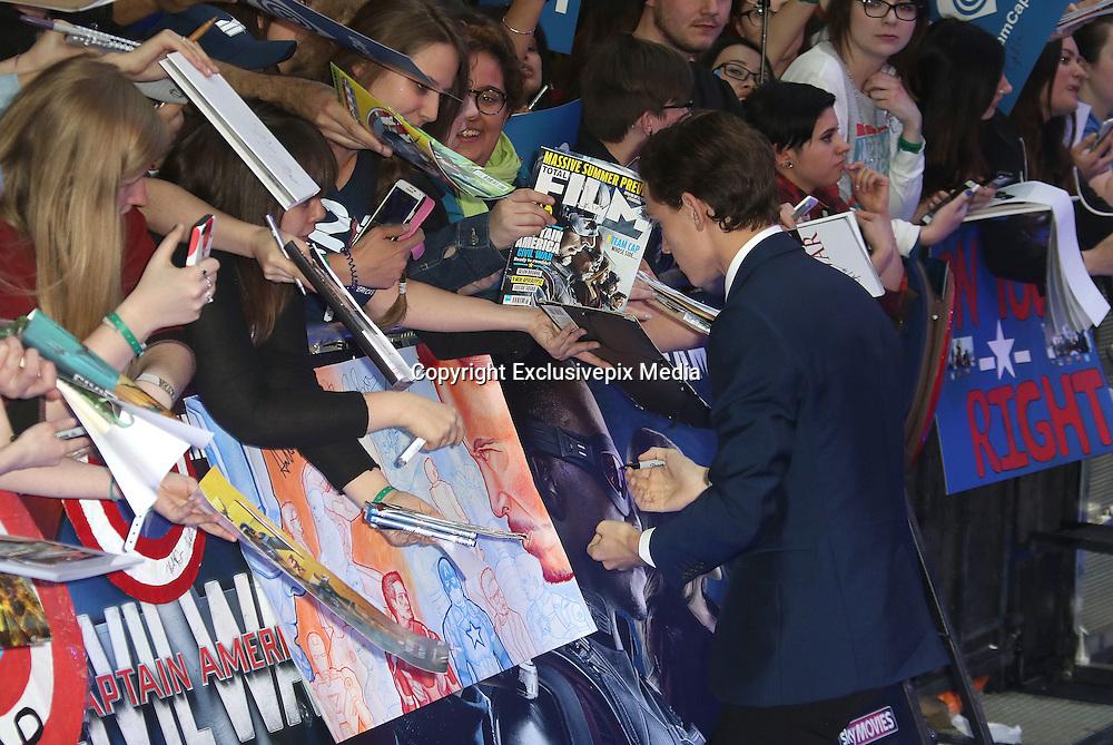 April 26, 2016 -Tom Holland attending 'Captain America: Civil War' European Film Premiere at Vue Westfield in London, UK.<br /> ©Exclusivepix Media