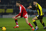 Chesterfield FC midfielder Jay O'Shea wins the ball ahead of Burton Albion midfielder Robbie Weir during the Sky Bet League 1 match between Burton Albion and Chesterfield at the Pirelli Stadium, Burton upon Trent, England on 12 February 2016. Photo by Aaron Lupton.