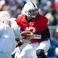 Penn State quarterback Steven Bench #12 runs a play during warms up before the annual Blue/White game on April 20, 2013 at Beaver Stadium in University Park, Pa.