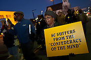 CHARLESTON, SC - DECEMBER 20: NAACP protesters march against the Secession Ball December 20, 2010 on the 150th Anniversary of South Carolina's Secession from the Union in Charleston, SC.  South Carolina was the first state to secede resulting in the US Civil War.