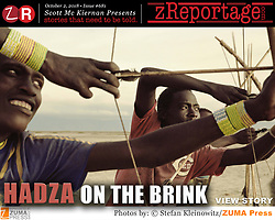 zReportage.com Story of the Week # 681 -  Hadza On The Brink - Launched October 4, 2018 - Full multimedia experience: audio, stills, text and or video: Go to zReportage.com to see more - The Hadza tribe of Tanzania are one of the last remaining societies in Africa, that survive purely from hunting and gathering. Very little has changed in the way the Hadza live their lives. But it has become increasingly harder for them to pursue the iconic Hadza way of life. Today of roughly 1,300 Hadza living in the dry hills here between salty Lake Eyasi and the Rift Valley highlands, only about 100 to 300 still hunt and gather most of their food. The Hadza's homeland lies on the edge of the Serengeti plains, in the shadow of Ngorongoro Crater. It is also close to Olduvai Gorge, one of the most important prehistoric sites in the world, where homo habilis, one of the earliest members of the genus Homo was discovered to have lived 1.9 million years ago. The Hadza have probably lived in the Yaeda Chini area for millennia. Genetically like the Bushmen of southern Africa they are one of the 'oldest' lineages of humankind. They speak a click language that is unrelated to any other language on earth. Their way of life is being encroached on by pastoralists whose cattle drink their water and graze on their grasslands, with farmers clearing woodland to grow crops, and climate change that dries up rivers and stunts grass. Over the past 50 years, the tribe has lost 90% of its land. Either the Hadza will find a way to secure their land-rights to have access to unpolluted water springs and wild animals, or the Hadzabe lifestyle will disappear, with the majority of them ending up as poor and uneducated individuals within a Westernized society that is completely foreign to them.  (Credit Image: © Stefan Kleinowitz/ZUMA Wire)