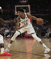 November 10, 2018 - Los Angeles, California, U.S - Giannis Antetokounmpo #34 of the Milwaukee Bucks with the ball during their NBA game with the Los Angeles Clippers on Saturday November 10, 2018 at the Staples Center in Los Angeles, California. Clippers defeat Bucks in OT, 128-126. (Credit Image: © Prensa Internacional via ZUMA Wire)