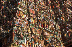 Ornately carved and richly decorated temple at Madurai; Tamil Nadu; India,